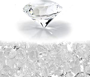 PMLAND Clear Wedding Table Scattering Crystals, Acrylic Diamonds, Bridal Shower Party Decorations, Vase Fillers - 1 Inch (25 mm) 68Pcs