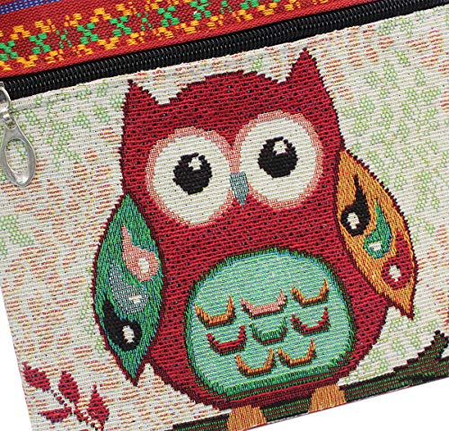 with Painting Women Red Crossbody Shoulder Ethnic Style Handbag Phone Bag Pouch Bag Owl tzgwqnOrz
