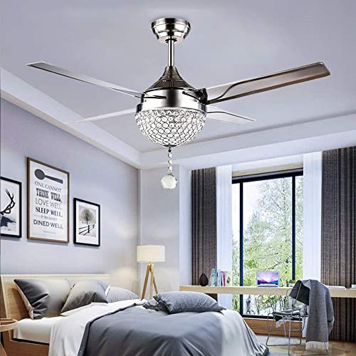 Tropicalfan Crystal Modern Ceiling Fan Remote Control Home Decoration Living Room Dinner Room Simple LED Mute Electric Fans Chandeliers 4 Stainless Steel Blades 44 Inch