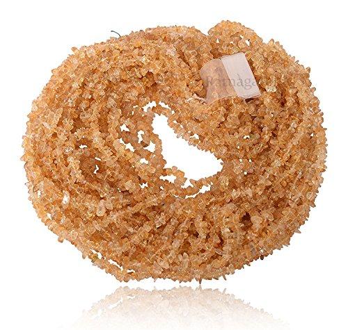 (Ratnagarbha Natural Citrine Gemstone Tumbled Nuggets Uncut Chips Loose Beads, 34