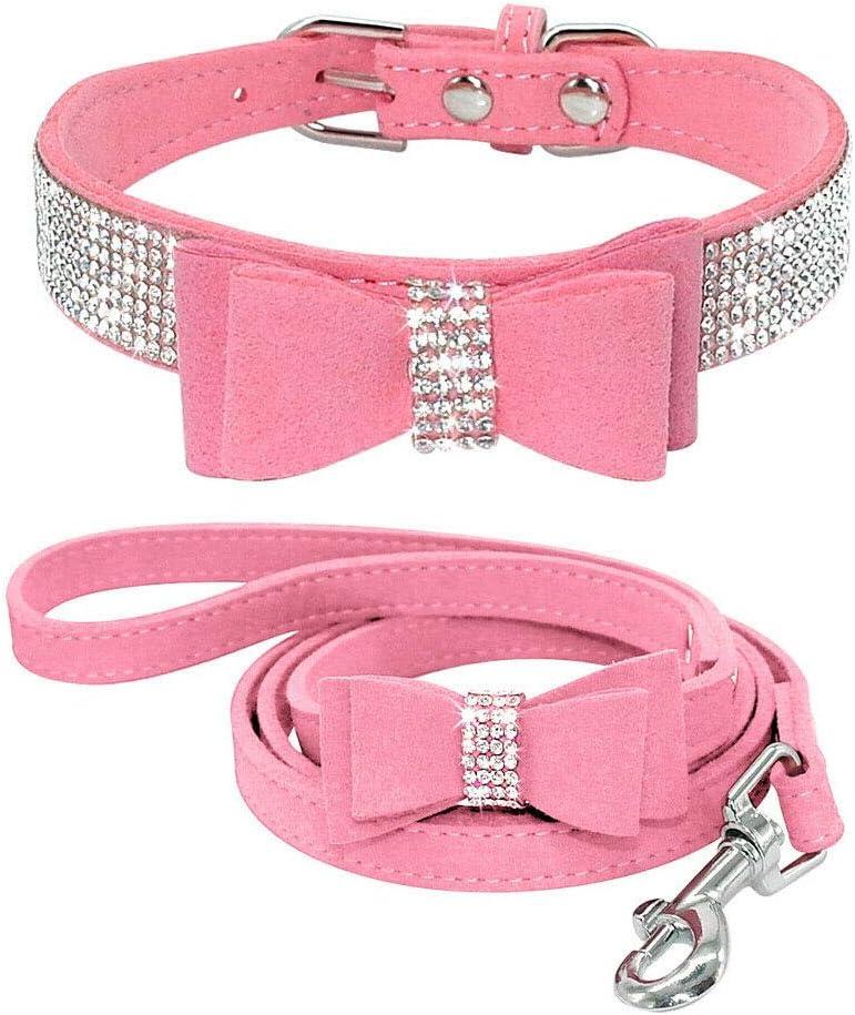 Benala Velvet Full Crystal Rhinestones Dog Pet Collar Leash Set Dog Cat Shinging Diamonds Bowknot Adjustable Necklace Set