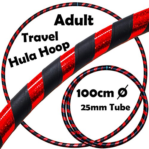 PRO Hula Hoops (Ultra-Grip/Glitter Deco) Weighted TRAVEL Hula Hoop (100cm/39') Hula Hoops For Exercise, Dance & Fitness! (640g) NO Instructions Needed - Same Day Dispatch.! (Black / Red Glitter)