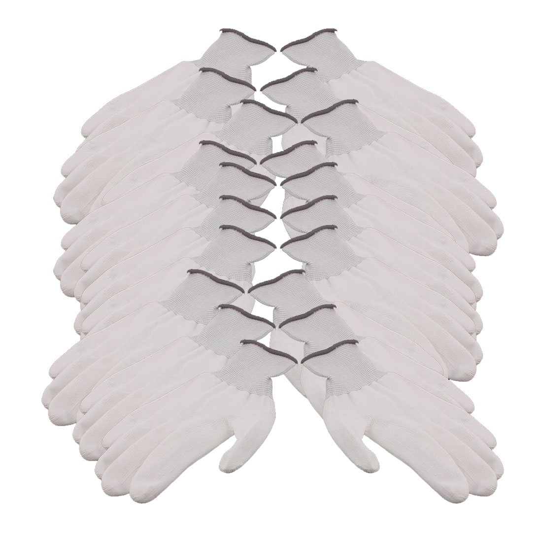 uxcell 10 Pair 13 Needles Nylon Labor Protection Anti-static Non-slip Gloves Gray White