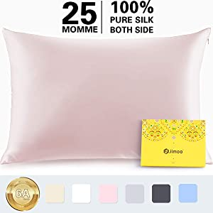 Silk Pillowcase for Hair and Skin,100% Pure Mulberry, 25 Momme 900 Thread Count with Hidden Zipper,Soft Breathable Smooth Both Sided Silk Pillow Cover-Gift Wrapped(Standard 20''×26'', Coral, 1 Piece)