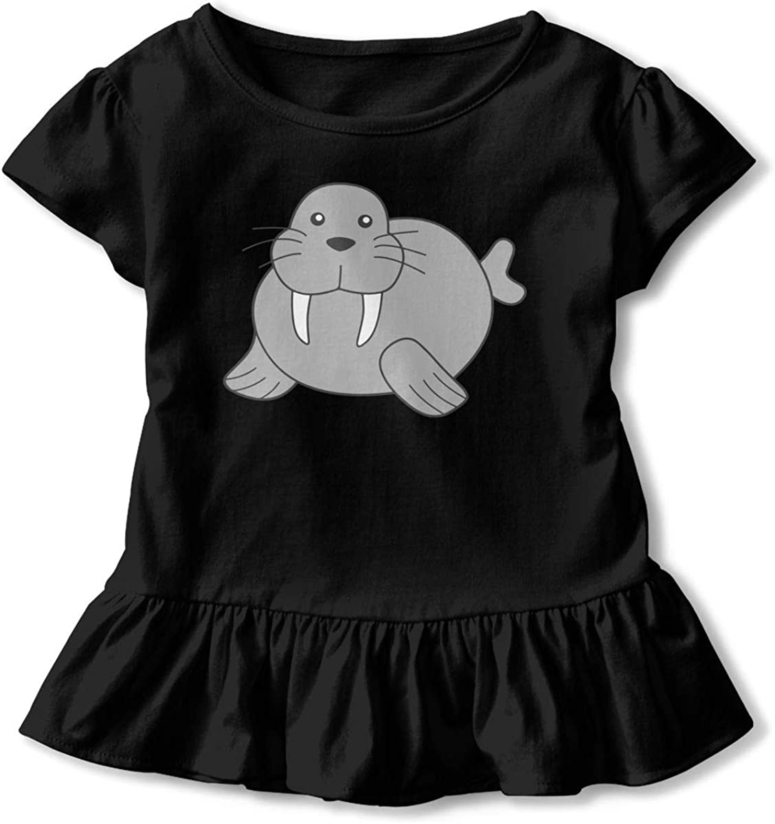HYBDX9T Toddler Baby Girl Cute Cartoon Manatee Funny Short Sleeve Cotton T Shirts Basic Tops Tee Clothes