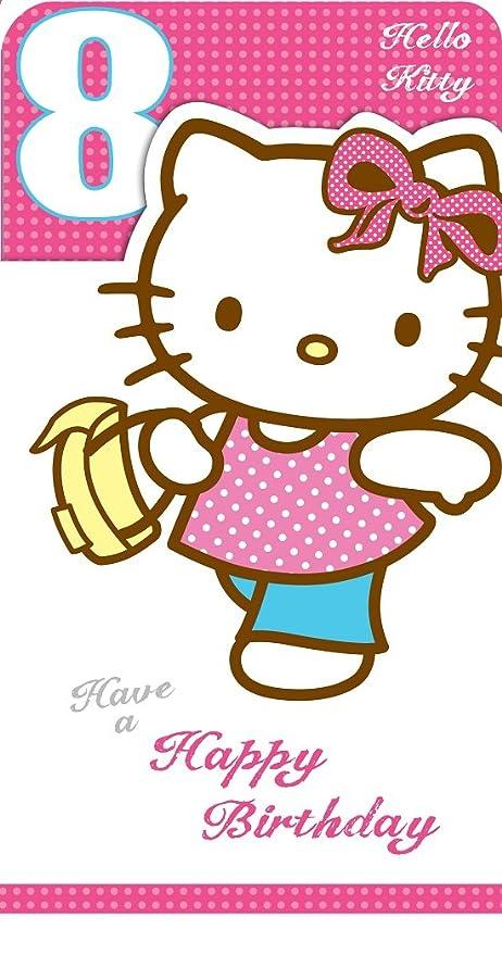 Hello Kitty Edad 8 Tarjeta de Cumpleaños: Amazon.es: Hogar