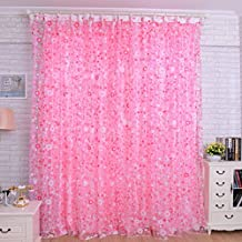 Changeshopping(TM)Print Floral Voile Door Curtain Window Room Curtain Divider Scarf Just one piece(Pink)