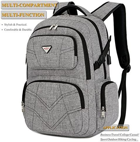 SOCKO 17.3 Inch Laptop Backpack with USB Charging Port Water Resistant Business Travel Backpack Shockproof Computer Rucksack Large Capacity College Back Pack Fits 17 Inch Laptops for Men Women, Grey