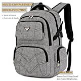 SOCKO 17.3 Inch Shockproof Laptop Backpack with USB Port / Roomy Lightweight Water Resistant Business Travel Bag / Multi-functional Casual Daypack Bookbag School Bag College Back Pack,Grey