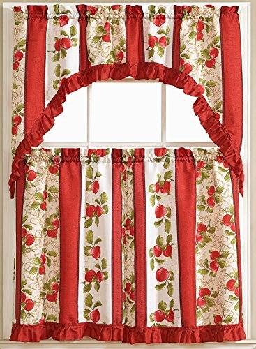 Taylor 3 Piece Printed Kitchen Curtain Set (2 tiers & 1 swag valance) 36