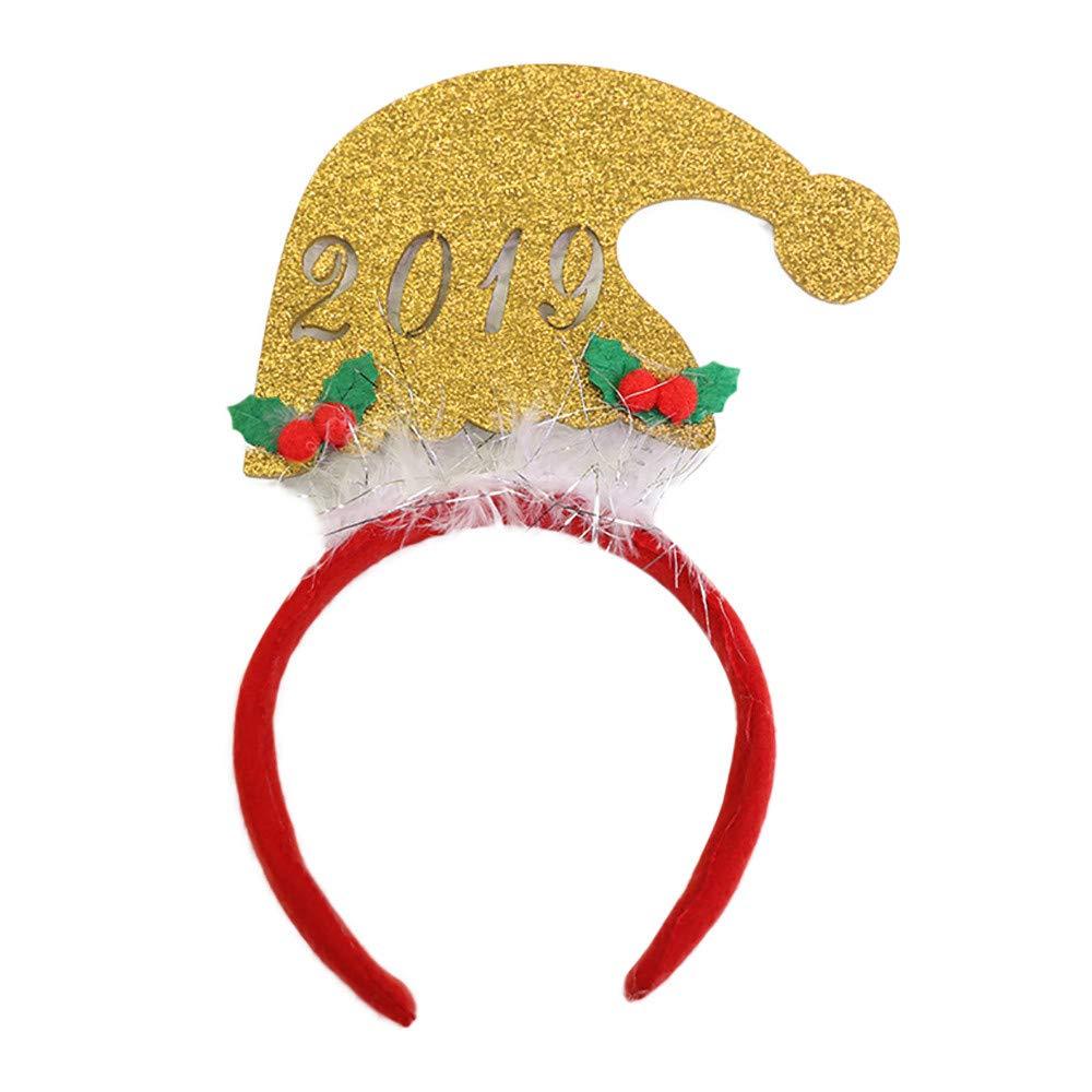 Mome ʕ •ᴥ•ʔChristmas Tiara ʕ •ᴥ•ʔ 1PC Party Holiday Festival Headdress Headband Christmas Stretch Headwear Hair Band Decorative Head Hoop,25cm x 13cm (B)
