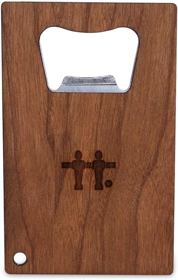 Futbolín abrebotellas con madera, tamaño de tarjeta de Crédito de acero inoxidable, abrebotellas para su cartera, tamaño de tarjeta de Crédito abrebotellas: Amazon.es: Hogar