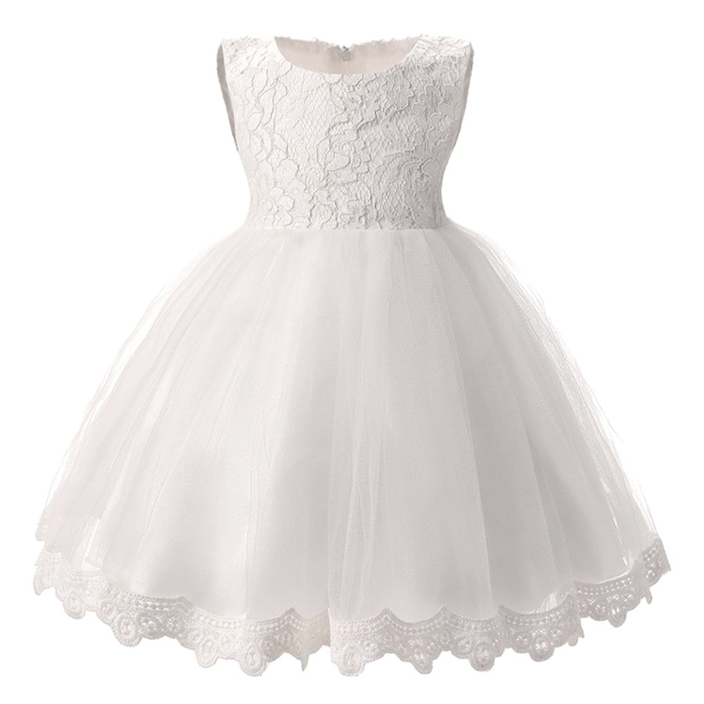 Vestito Bambina Cerimonia Principessa Pizzo Abito Senza Maniche con Bowknot Azzurro/12Mesi HJC180201TQ35