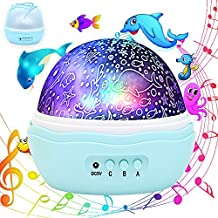 Colorful Undersea World, McWorks Fashion Flower Bud Music Multiple Colors Rotating Projector Night Lights, Best For Kid's Baby's Gift To Stimulate Curiosity and Imagination