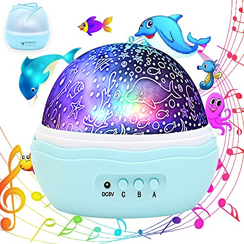 Offering Conch Shell (Colorful Undersea World, McWorks MUSIC Multiple Colors Rotating Projector Night Lights, Best for Kid's Baby's Gift to Stimulate Curiosity and Imagination)