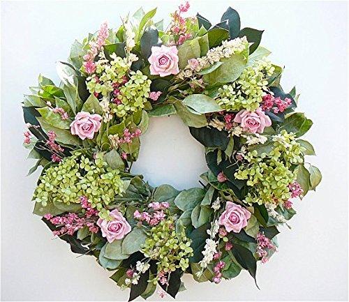 Wreath Dried Hydrangea - Mama's Garden Pink Rose and Hydrangea Wreath in 22