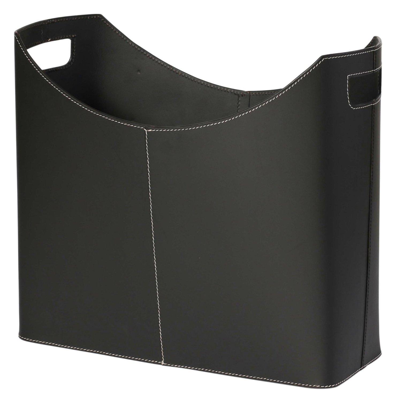 KINDWER Contemporary Black Leather Magazine Basket SeaSky A051