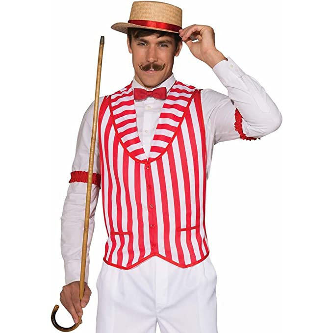 Vintage Men's Costumes – 1920s, 1930s, 1940s, 1950s, 1960s Mens Patriotic Barber Shop Quartet Costume Red and White Vest $20.99 AT vintagedancer.com