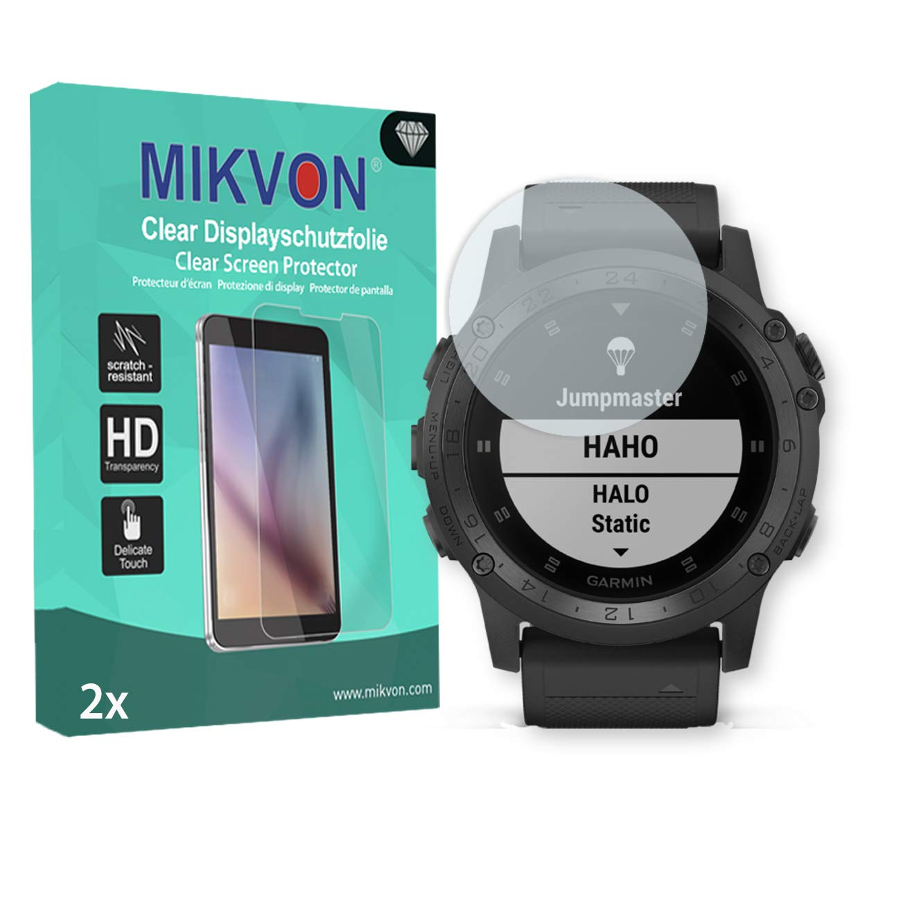 MIKVON 2X Clear Screen Protector for Garmin Tactix Charlie - Retail Package with Accessories