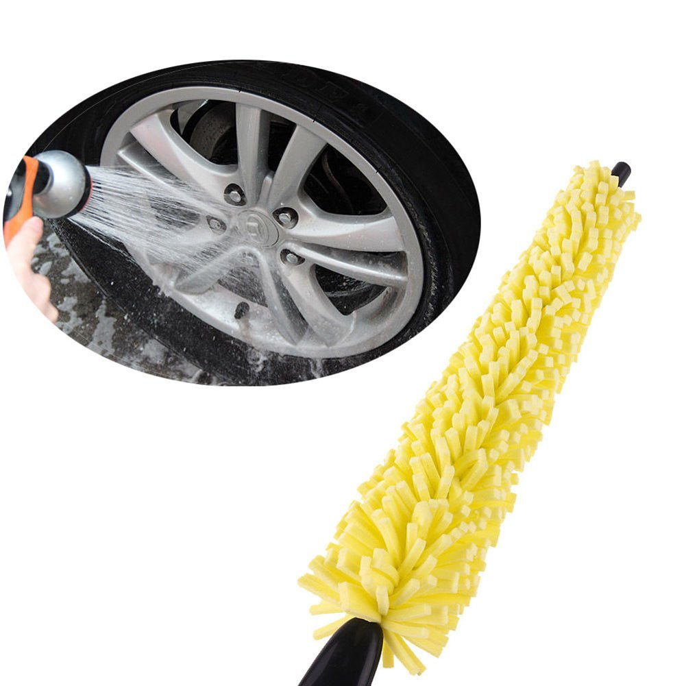 Move on Car Wheel Brush Practical Handle Yellow Sponge Cleaning Tire Rim Brush Tool