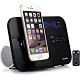 VELOUR Apple Lightning Speaker Dock for iPhone 7,7plus, 6S,6,6plus, 5,5s,Mini with Bluetooth FM Radio clock and Charger [Apple MFi Certified]