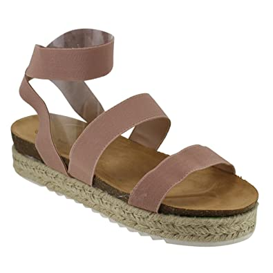 83cd94b2b3f8 Nature Breeze FQ83 Women s Elastic Strappy Lug Sole Platform Sandals