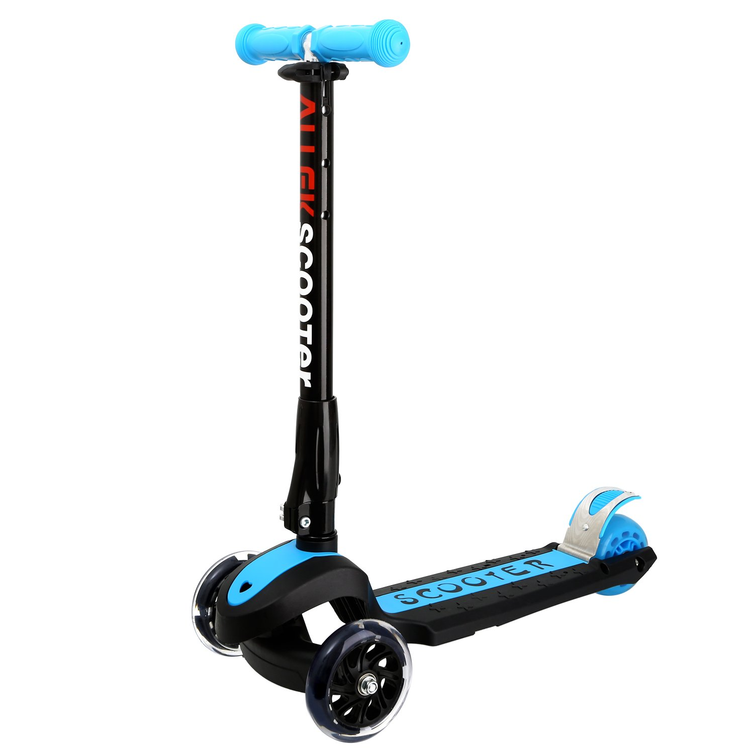 Allek Kick Scooter, 3 Wheel Adjustable Height PU Flashing 3 Wheels Scooter Kids Patented Folding System Best Gifts Children from 3 to 17 Year-Old