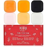 Koji White Skin Brighten & Glowing Soap Gift Set 6 Bars (Kojic Acid, Papaya, Glutathione, Vitamin C, Collagen, Charcoal…