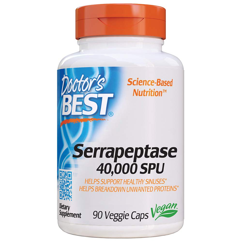 Doctor's Best Serrapeptase, Non-GMO, Vegan, Gluten Free, Supports Healthy Sinuses, 40,000 SPU, 90 Count (Pack of 1) by Doctor's Best