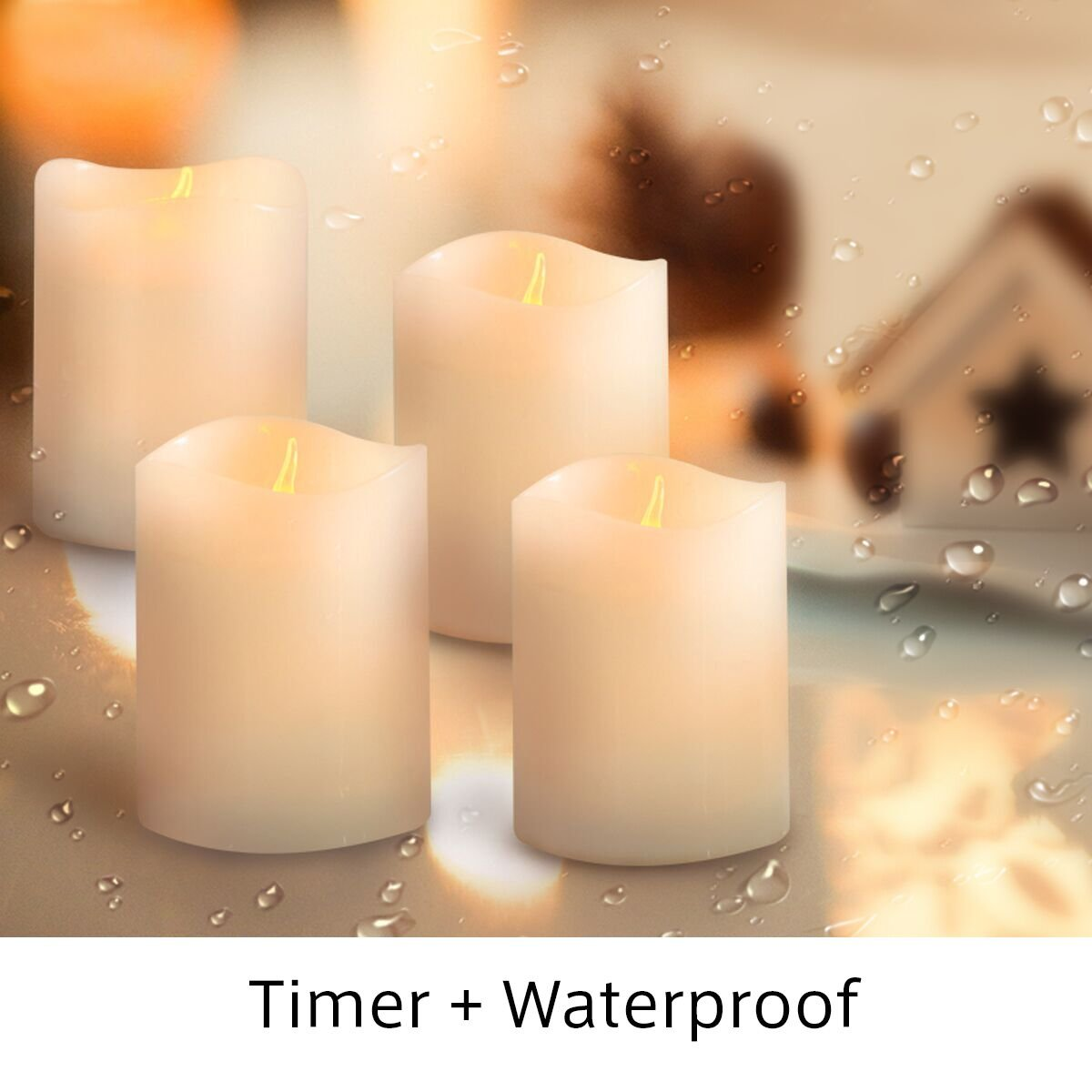 LED Tealight Candles with Timer - Votive Candles Battery Operated - Waterproof - Amber Light 4 Pack