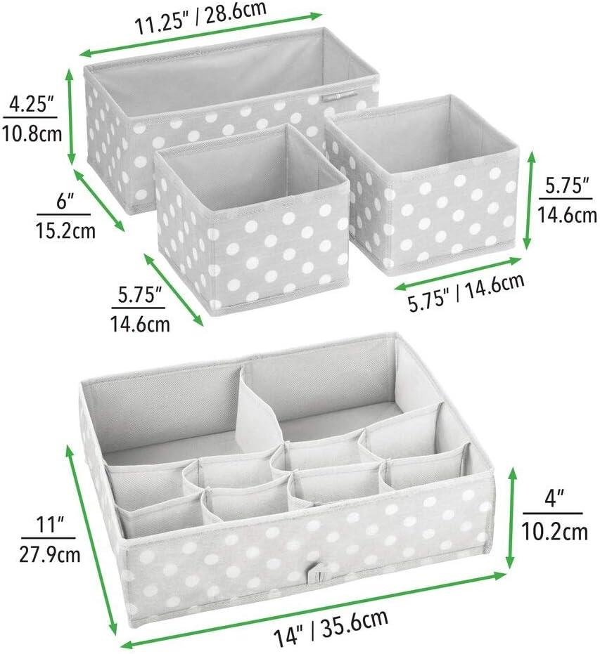 stilvolle Stoff Aufbewahrungskisten in verschiedenen Gr/ö/ßen grau//wei/ß Kinderschrank Organizer aus atmungsaktiver Kunstfaser mDesign 8er-Set Kinderzimmer Aufbewahrungsbox