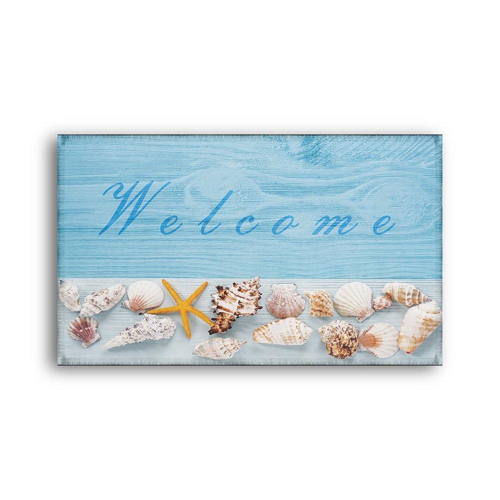 Light Blue Sea Star Welcome Doormat Non-slip Water Absorbent Conch Sea Snail Starfish Seashell Bathroom Mat Size: 20x31Inch (50x80cm)