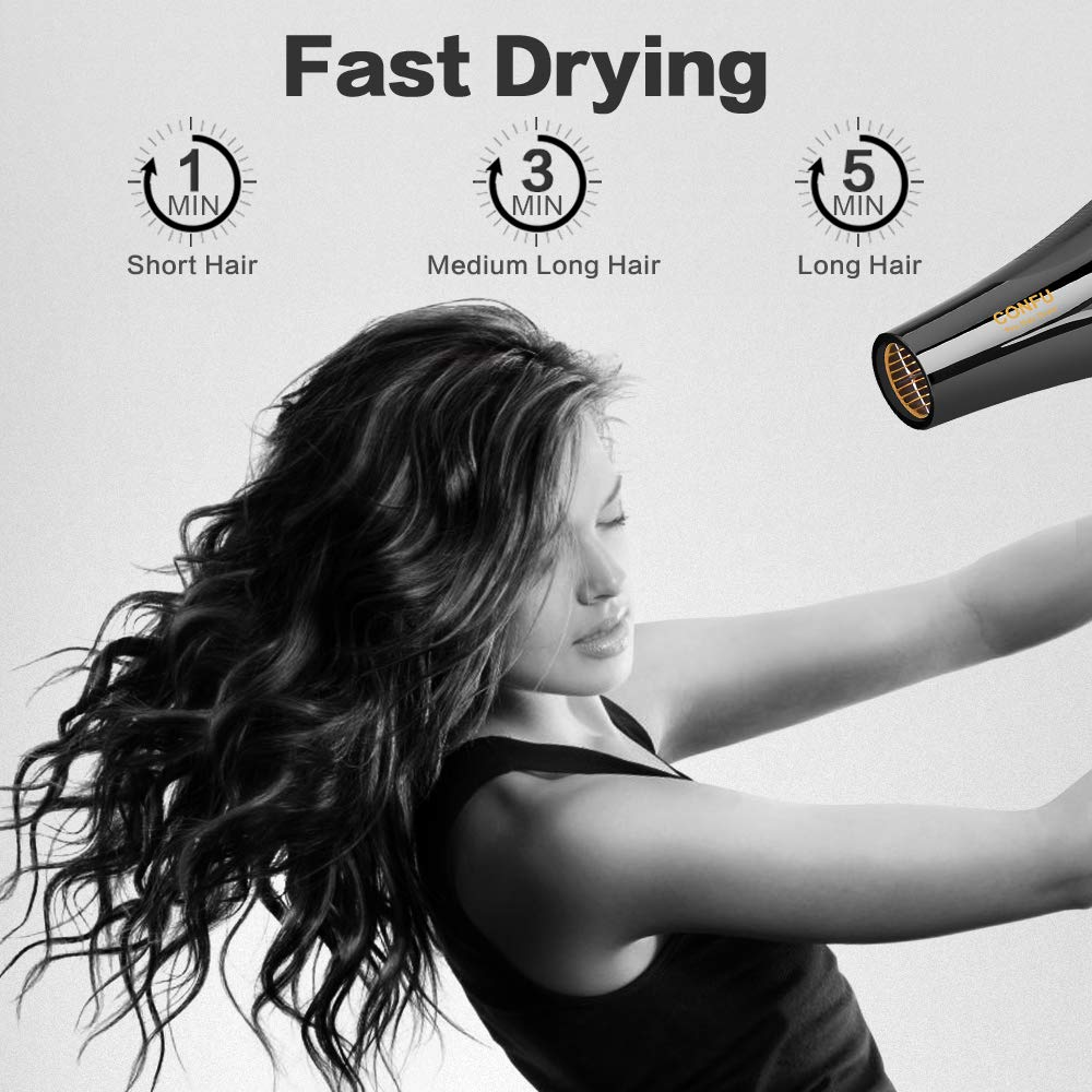 Professional Hair Dryer, CONFU 1875W Powerful Fast Drying Blow Dryer w Negative Ionic Tourmaline Ceramic Technology, Lightweight Hairdryer w Diffuser Concentrator, Low Noise, AC Motor, KF8905