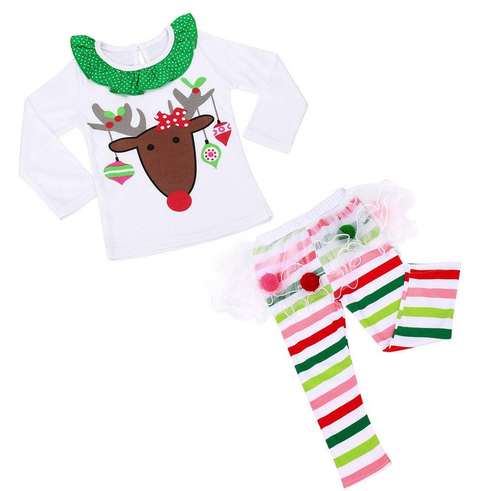 Baby Girls Christmas Infant Toddler Santa Elk Cake Dress 2 Pieces Elk Christmas Pantsuit Children Long Sleeve Blouse Trousers Holiday Party Suit For Toddler Baby Kid Girl Infant Children (White, 4-5Y)