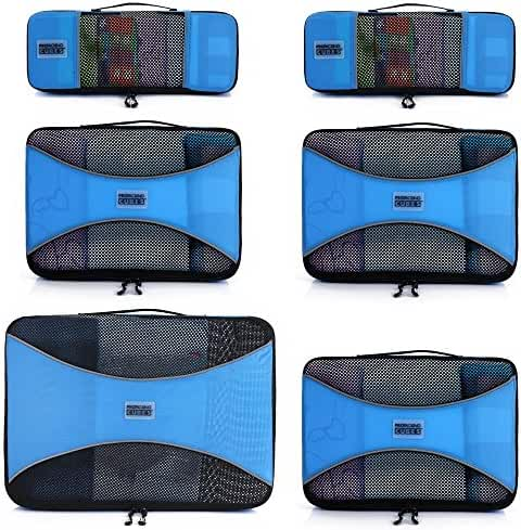 Pro Packing Cubes - 6 Piece Lightweight Trave Cube Set - Organizers and Compression Pouches System for Carry-on Luggage, Suitcase and Backpacking Accessories