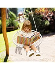 Surophy Hammock Chair Macrame Swing for Kids&Teens, Small Cotton Rope Porch Swing,220 Pound Capacity Handmade Knitted Hanging Swing Chair for Indoor, Outdoor, Garden, Patio, Porch, Yard, Reading Room