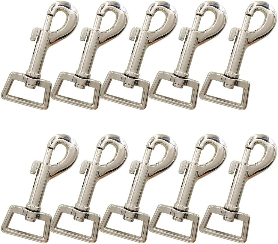 "10 Pcs Heavy Duty 2.95""X0.98"" Square Auge Nickel Plated Swivel Snap Hooks Pet Buckle Trigger Clip Clasp Hund Horse Lead Keychain(Silver)"