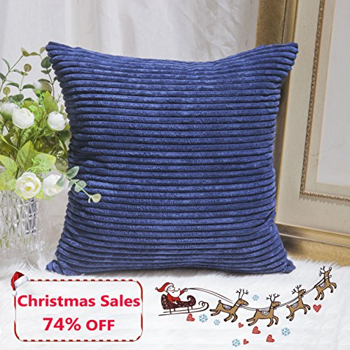 Home Brilliant Decor Supersoft Striped Textured Velvet Corduroy Decorative Throw Toss Pillowcase Cushion Cover for Chair, Navy Blue, (45x45 cm, 18inch) Pillowcase Cushion Cover