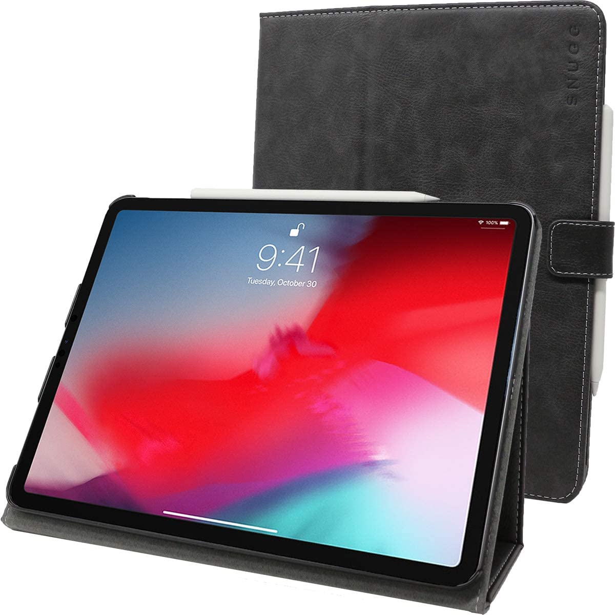 "Snugg iPad Pro 11"" (2018-1st Gen) Leather Case, Flip Stand Cover - Slate Grey"
