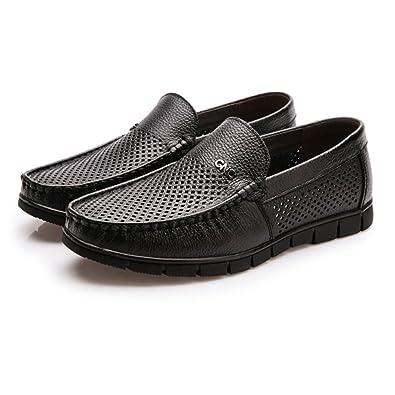 Chaussures en cuir pour hommes classiques authentique Slip-on plat mou semelle souple (Perforation en option) Chaussures de sport en cuir pour hommes ( Color : Perforation Dark BN , Size : 39 EU )