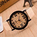 Redvive Roman Numerals Wood Dial Leather Watch Band Analog Quartz Vogue Wrist Watches Bracelet for