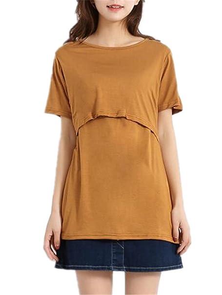 Tayaho Breastfeeding Shirt Mujer Tops de Enfermería Camisetas de Lactancia Poleras Manga Corta Cuello Redondo T