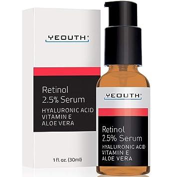 Retinol Sérum 2,5% con ácido hialurónico, aloe vera, vitamina E - aumenta la producción de colágeno, reduce las arrugas ...