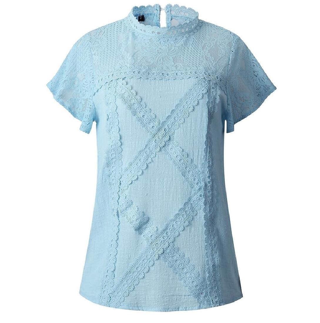 Highisa Womens Patterns Button Fashion Lace Tee Short Sleeve T Shirts