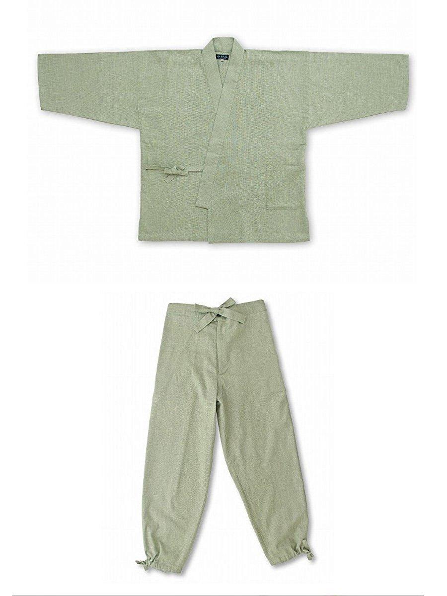 作務衣 絣紬 IKISUGATA B01MG5P3T2 SS(6001)|浅緑(No.7) 浅緑(No.7) SS(6001)