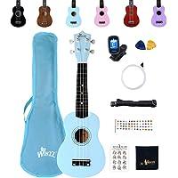 Winzz Ukelele Soprano Starter Kit para Principiante. Incluye: Funda, Afinador, Cuerdas Extra, Correa Ajustable, Púas…