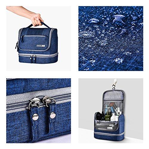 Toiletry Bag Hanging Travel Toiletry Organizer Kit with Hook and Handle Waterproof Cosmetic Bag Dop Kit for Men or Women (Navy Blue) by NICEPACK (Image #4)