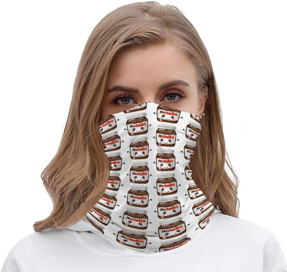 SOLVE GROCERY Nutella Cutie Rave Face Mask Headband Bandana Mouth Cover Hair Ties Neck Scarf for Men and Women