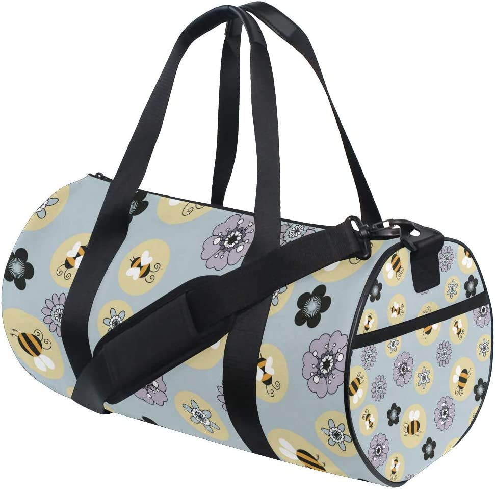 MALPLENA Bee And Flower Drum gym duffel bag women Travel Bag