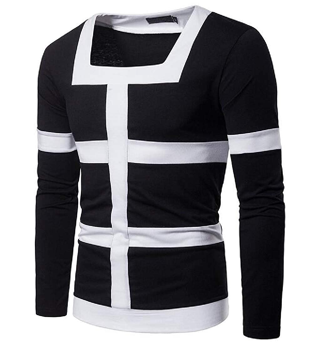 Tingwin Mens Long Sleeve Slim Fit Pullover Splice Wild Striped Shirt Top T-Shirt